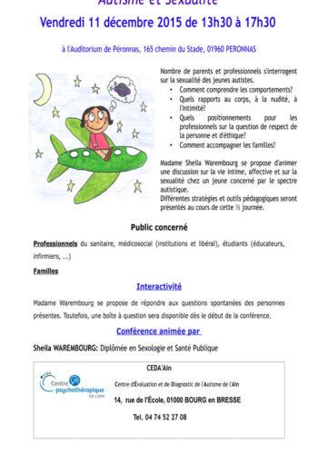 Affiche conférence autisme et sexualité